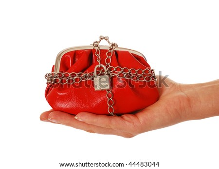 Locked up red purse isolated on white - stock photo