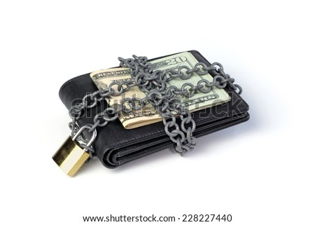 Locked wallet and saved money - stock photo