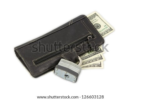 Locked wallet with dollar bills. - stock photo