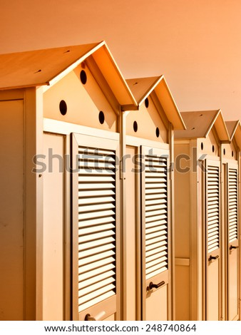 locker room at the beach, beach cabin - stock photo