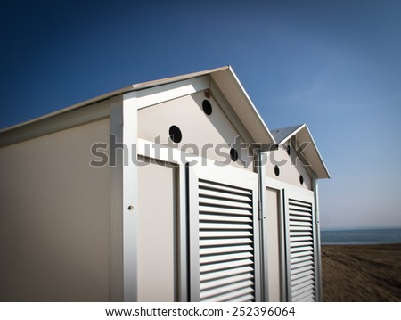 locker room at the beach, beach cabin, lensbaby look (looks like made with lensbaby) - stock photo