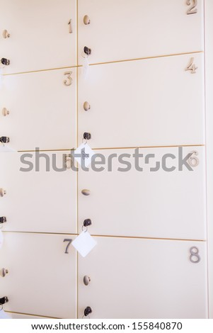 Locker room background - stock photo