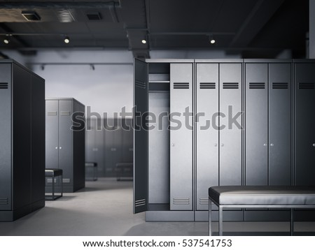Locker Room Modern Loft Interior Black Stock Illustration 537541753