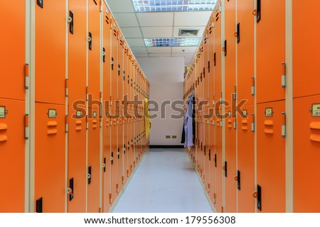 Locker Room in Sport Center. - stock photo