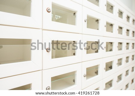 Locker wooden MailBoxes postal for keep your information, bills,postcard, - stock photo