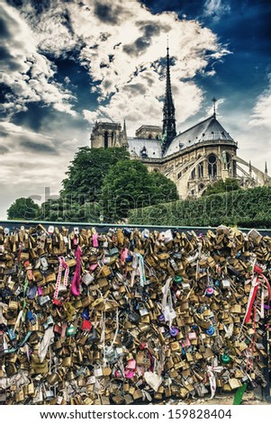Lockers at Pont des Arts, Paris. - stock photo