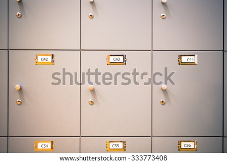 Lockers cabinets in a locker room