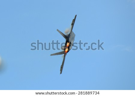 Lockheed Martin F-22 Raptor Fighter aircraft at Great New England Air Show in Westover Air Reserve Base(ARB), Chicopee, Massachusetts, USA - stock photo