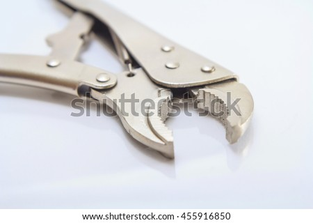Locking Pliers on white background