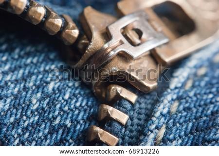 locking zipper on jeans,macro - stock photo