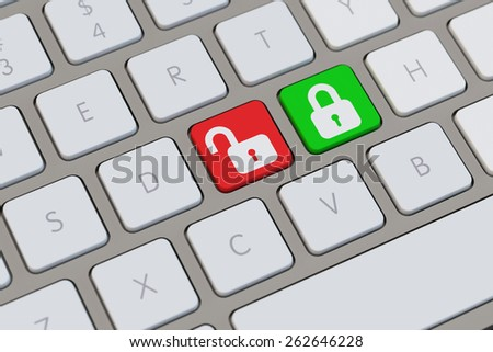 Locks as smybol for data encryption and decoding on a keyboard (3D Rendering) - stock photo