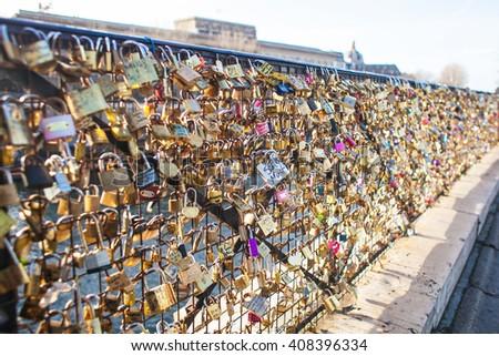 Locks at Paris bridge - stock photo