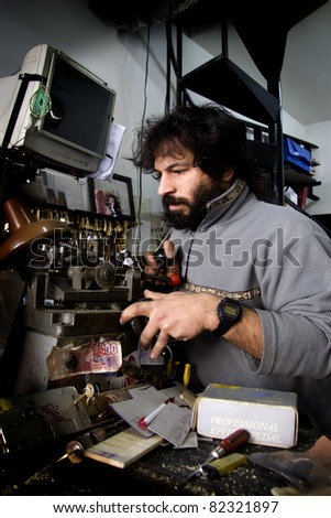 locksmith in locksmith work in the morning - stock photo