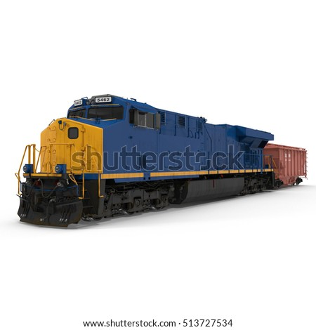 Locomotive and freight wagon on white. 3D illustration