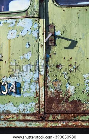 locomotive, narrow-gauge railway, old train, rust, peeling, iron - stock photo
