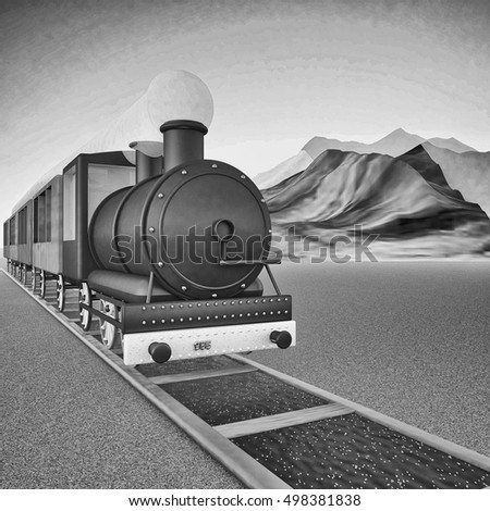 Locomotive of steam train, square black and white image, 3d rendering