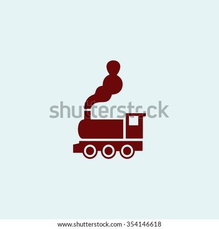 locomotive Red flat icon. Simple illustration pictogram - stock photo
