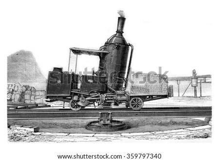 Locomotive Rigi, vertical boiler, vintage engraved illustration. Magasin Pittoresque 1876. - stock photo