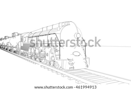 locomotive, sketch, 3d illustration