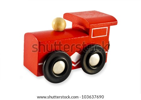 Locomotive train engine toy isolated on a white background. Concept photo for transport ,transportation, retro, old, vintage ,design.  - stock photo