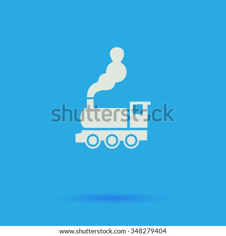 locomotive White flat simple pictogram on blue background with shadow  - stock photo