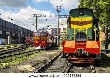 Locomotives on the railway in the Roundhouse of Yelets, Russia, May 13, 2014 - stock photo