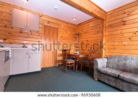 Lodge apartment interior detail. Fox Glacier Lodge, Fox Glacier, West Coast, South Island, New Zealand. - stock photo