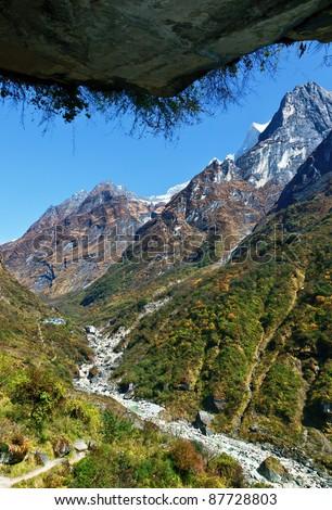 Lodge Deurali on the path to Annapurna - Nepal, Himalaya - stock photo