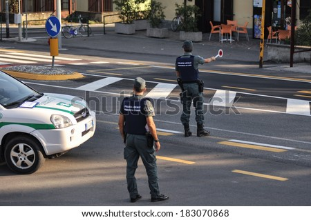 LODI, ITALY - OCTOBER 3: Checkpoint control and alcohol during a demonstration in the city of Lodi, Italy on October 3, 2011. Monitoring police Safety Camera - stock photo