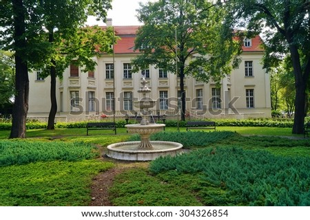 LODZ, POLAND -29 AUGUST  2014;Lodz city architecture -  Fountain and Palace of Alfred Biederman