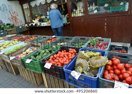 LODZ, POLAND - AUGUST 25, 2014:  Street trade in vegetables and fruit