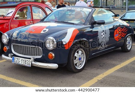 LODZ, POLAND, JUNE 19 2016 : Beautiful retro cars. Rally fans of retro cars in Lodz. The historic Syrena an icon of Polish automobile