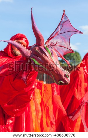 Lodz, Poland, September 25, 2016, Manufaktura: Dragons party as part of International Festival of Animation Art, great red dragon