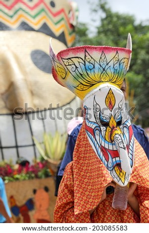 "LOEI ,THAILAND-JUNE 28: Ghost Festival ""Phi Ta Khon"". The mask procession celebrated in Thailand, The Thai Buddhist ceremony at Loei province, on June 28,2014."