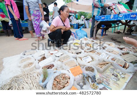 LOEI, THAILAND - SEPTEMBER 13: Many dried herb for making medicine thai style for sale at local market loei, Thailand. Photography on september 13, 2016