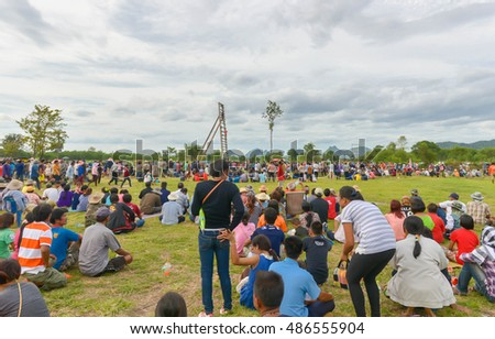 LOEI,THALAND-JUNE 21 : People in country side prepare traditional rockets in Rocket festival 'Boon Bang Fai' The celebration for plentiful rains during rice plant season on June 21,2015 Loei,Thailand.