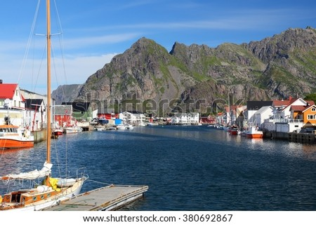 Lofoten archipelago in Norway. Henningsvaer fishing village in Nordland county.
