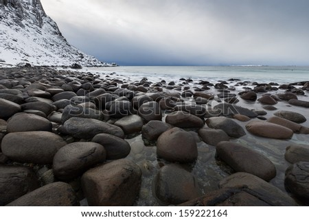 lofoten island beautiful natural landscape - stock photo