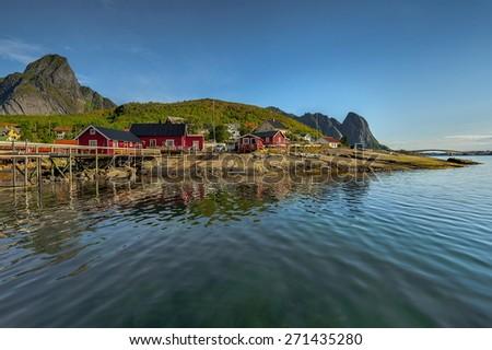 Lofoten island , Norway, Typical red house on coast - stock photo