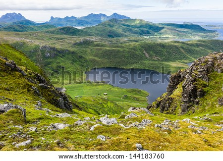 Lofoten mountain view - stock photo