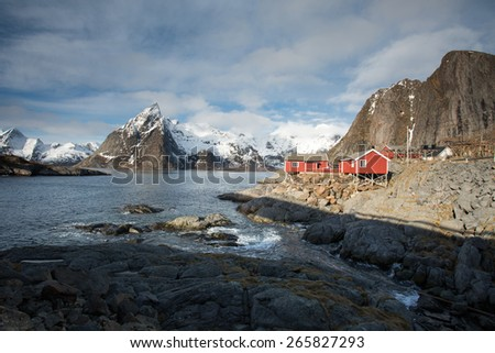 Lofoten mountains and fishing cabins on Hamnoy Island, Norway