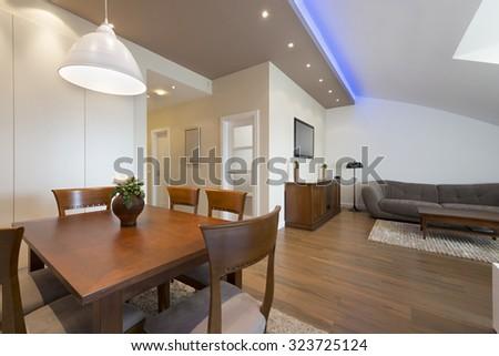 Loft apartment interior - stock photo