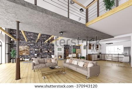 Loft apartment interior, dining, living room, kitchen 3d rendering - stock photo