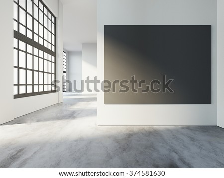 Loft art gallery interior, with black poster, big windows and warm sunlights, concrete floor in empty room. 3d rendering