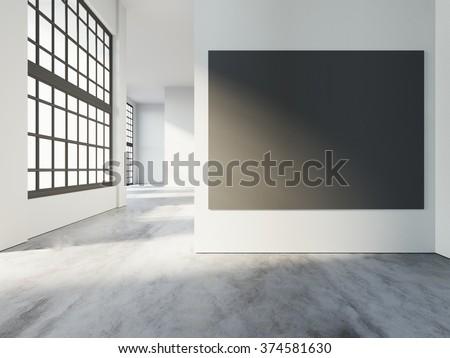 Loft art gallery interior, with black poster, big windows and warm sunlights, concrete floor in empty room. 3d rendering - stock photo
