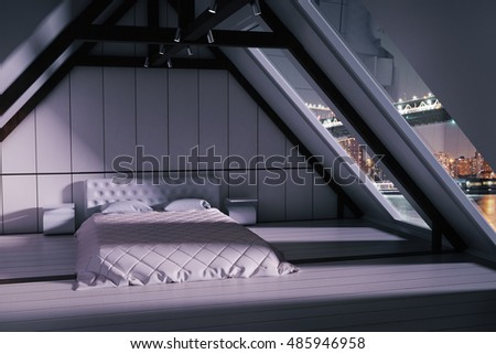 Loft bedroom interior with furniture and windows with night city view. 3D Rendering