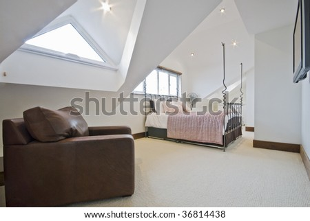 loft bedroom with rest area and tv sofa