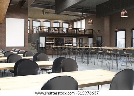 loft cafe interior with blackboard posters and bar concept of pub culture 3d - Gray Cafe Interior