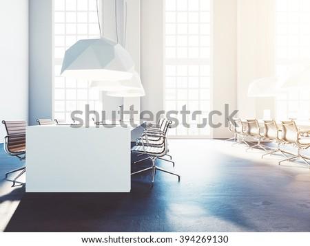 Loft comfortable workspace. Generic office. 3d render - stock photo