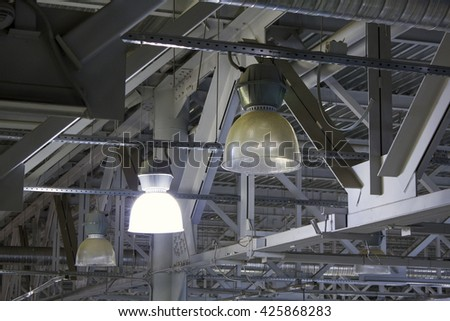Loft design ceiling with lamps